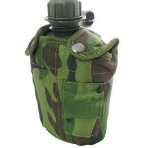 Juomapullo / Kenttäpullo Army + Suojapussi Maastokuvio