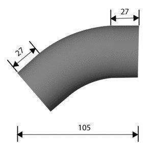 Kaideosa ruostumaton teräs Ø40 mm kulma 30° hiottu grid 220