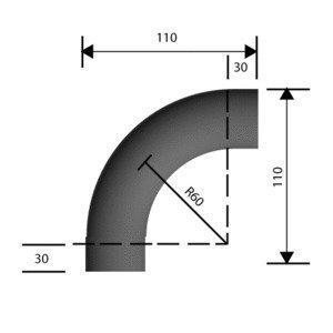 Kaideosa ruostumaton teräs Ø40 mm kulma 90° hiottu grid 220