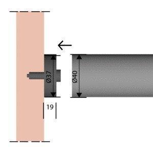 Kaideosa ruostumaton teräs Ø40 mm päätykiinnike