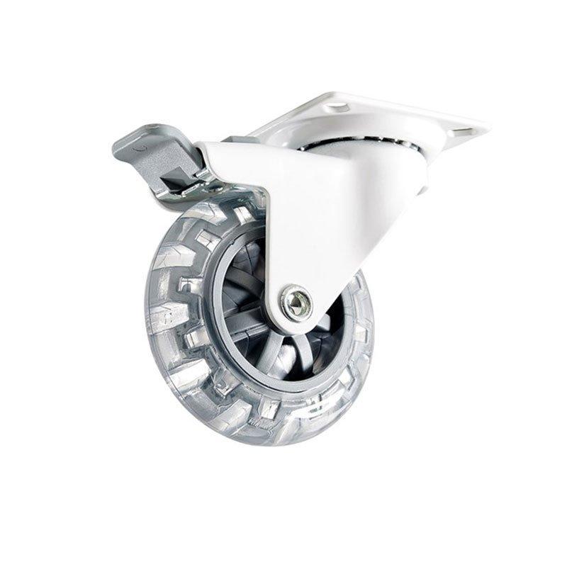 Kalustepyörä kiinnityslevy jarru 4107 Habo Valkoinen