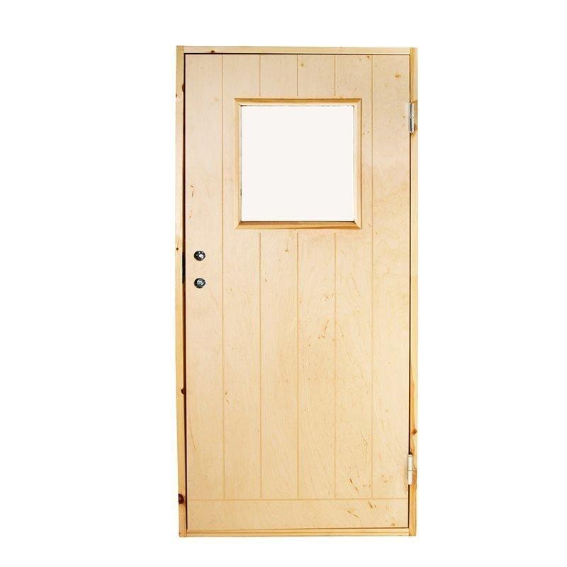 Lämminvaraston ovi lasi-ikkunalla 90x200 Käsittelemätön