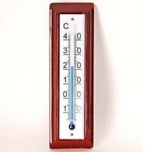 Lämpömittari Sisä Mahonki/ Valk.Muovi 120x30mm