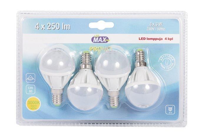 Led-Lamppu E14 3w 4kpl Led Max