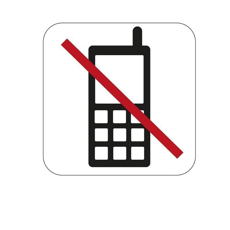 Merkki Habo puhelimen käyttö kielletty Valkoinen|Musta