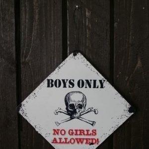 "Metallikyltti ""Boys Only No Girls Allowed"" 20x20cm"