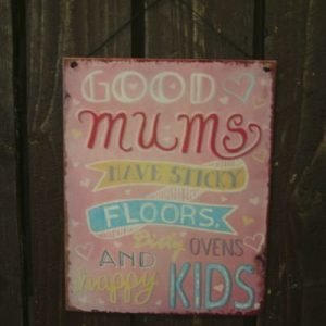 "Metallikyltti ""Good Mums..."" 19x24cm Pinkki"