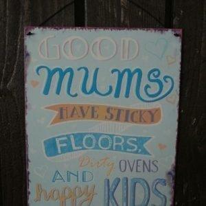 """Metallikyltti """"Good Mums..."""" 19x24cm Sininen"""