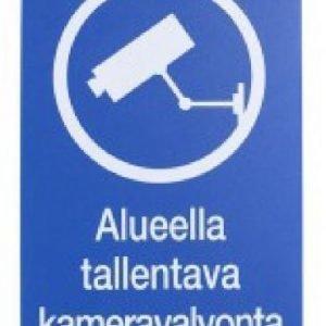 """Opastekyltti / Varoitusmerkki """"Alueella Tallentava Kameravalvonta"""""""
