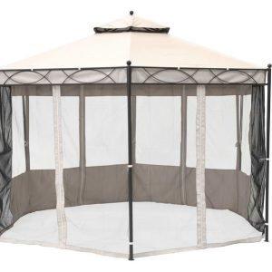 Paviljonki Gilda Kuusikulmainen Ikkunoilla 3x3 Pihapuu