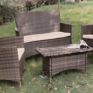 Polyrottinkinen Puutarhakaluste -setti 2x Tuoli + Sohva + Pöytä