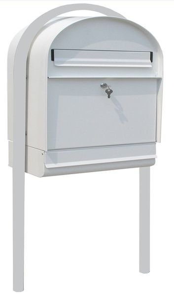 Postilaatikko Metalli Valkoinen + Jalat + Lukko