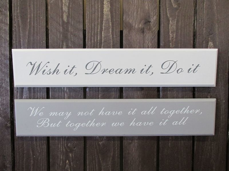 "Puukyltti 58x11cm Harmaa ""Wish It Dream It Do It"" 4living"