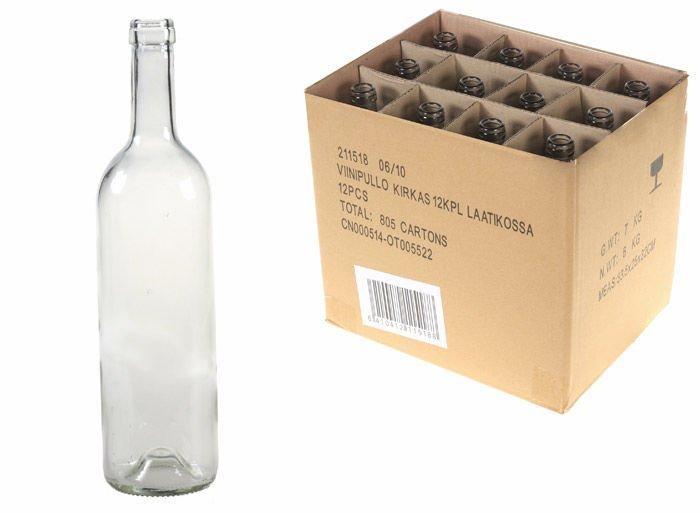 Tyhjät Viinipullot 0.75l 12kpl/Laatikko Kirkas