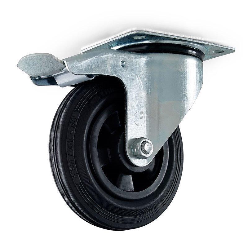 Vaununpyörä kiinnityslevyllä ja jarrulla Metallinen
